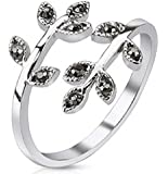 Petite Leaf Multi-Paved Gems Adjustable Rhodium Plated Brass Mid-Ring/Toe Ring HO2731
