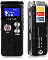 ESYNiC Rechargeable 8GB Steel Digital Voice Sound Phone Recorder Dictaphone MP3 Player Audio Record Black Color with Built-in Lithium Battery