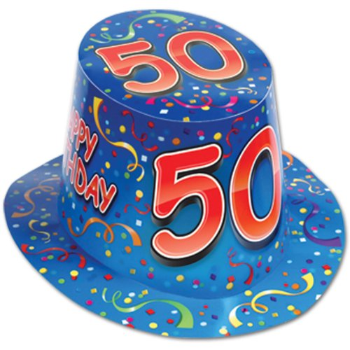 "Happy ""50"" Birthday (Blue) Hi-Hat Party Accessory"