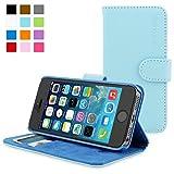 英国Snugg製 iPhone 5 / 5S用 PUレザー手帳型ケース ベビーブルー