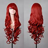 "32"" 80cm Long Hair Heat Resistant Spiral Curly Cosplay Wig (Red Dark)"