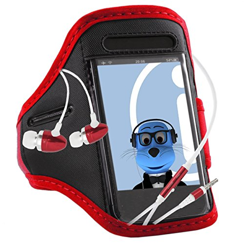 Italkonline Lg G3 S Beat Duos Red Black Sports Gym Jogging Armband Arm Band Case Cover With 3.5Mm Aluminium Headphones Handsfree Mic And On/Off Switch