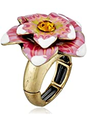 """Betsey Johnson """"Caribbean Queen"""" Flower Stretch Ring, Size 7"""