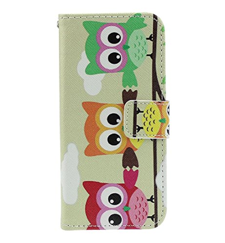 Toopoot(Tm) Three Cute Owls Flip Stand Leather Cover Case For Lg Optimus L90 D410 D405 D415