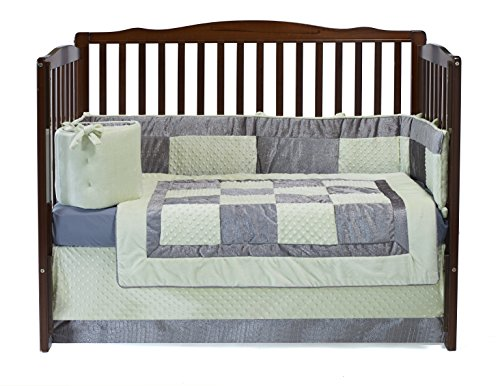 Baby Doll Croco Minky Crib Set, Sage/Grey