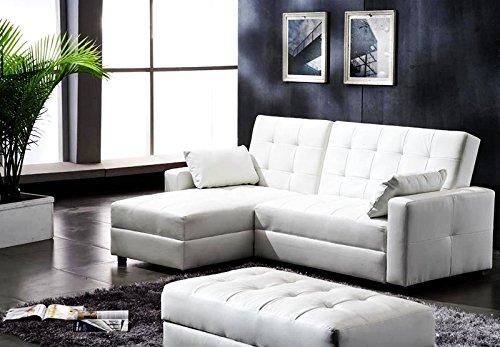 Lederfaserstoff Ecksofa Eckcouch mit Schlaffunktion und Bettkasten Lederlook Weiss Sofa Couch Neu Despina