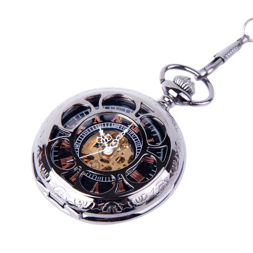 Skeleton Black Pocket Watch Chain Mechanical Hand Wind Half Hunter Vintage Look Value Quality - PW19