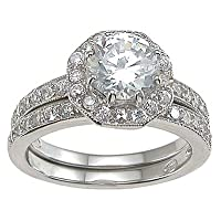 Cubic Zirconia CZ Solitaire Wedding Engagement Ring Set Size 5 6 7 8 9