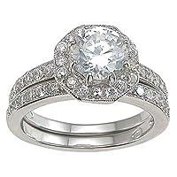 Cubic Zirconia CZ Solitaire Wedding Engagement Ring Set Size 5 6 7 8 9