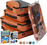 Packing Cubes For Travel Organizer - Packing Bags Luggage And Suitcase - 4pc (Orange) Set Large and Medium Organizers Pouches for Protection and Compression of Multi Clothes Shoes and Accessories - (ORANGE).