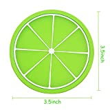 Ieasycan 6pcs Fruit Shape Silicone Coasters Round Silicone Mats for Cup Mat Pad Placemat Modern Kitchen Accessories Cooking Tools