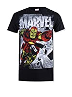 ZZ-Marvel Camiseta Manga Corta Iron Man Smash (Negro)