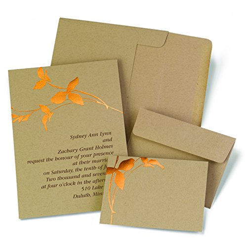 Hortense B. Hewitt 2140010 50 Count Copper Branches Invitation Kit, Kraft/Copper