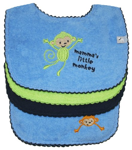 Bib (3 pack) and Burp Cloth (1 pack) Set, Monkey Fun (Blue), Frenchie Mini Couture - 1