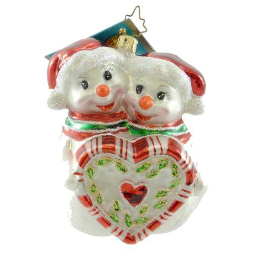 Radko FROSTY-COZY 1013118 Ornament Snowmen Heart New
