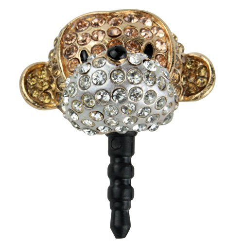 Niceeshop(Tm) Crystal 3D Brown Monkey Dust Plug Ear Jack Earphone Jack For Iphone Samsung Ipod Htc