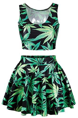 Marijuana Leaf Tank Top Pleated Skirt
