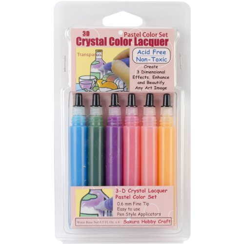Sakura Hobby Craft 3D Crystal Lacquer Color Pens, Pastel
