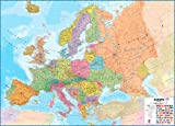 Huge Europe Wall Map (political) Laminated with hanging bars