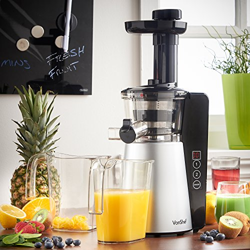 Vonshef 150w Slow Juicer Masticating Juicer : vonShef Digital Slow Masticating Juicer with 2 Speeds, Reverse Function, Ultra-Quiet Motor ...
