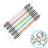 PrettyDiva 5Pcs Rhinestone Gel Nail Art Carving Pen Brushes Nail Brush Pencil Tool Set With Double Silicone Head...