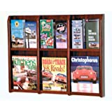 Wooden Mallet 6-Magazine/12-Brochure Divulge Wall Display with Brochure Inserts, Mahogany