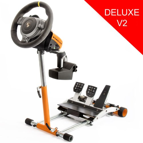 Racing Steering Wheel Stand for Porsche  orange stand  Compatible with GT2, GT3RS , CSR, and CSR Elite Wheels w/Club Sport or CSR/CSR Elite Pedals and Shifter. V2 Picture
