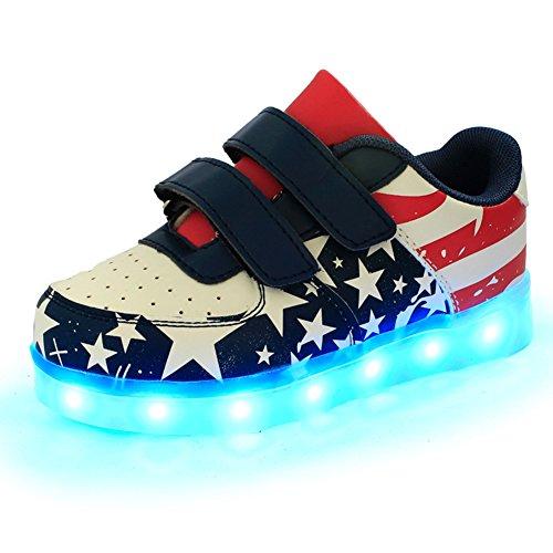 iBaste-NEW-LED-nios-brillo-zapatos-infantil-con-Bandera-Nacional-talla-25-34