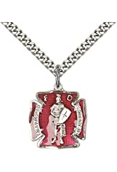 "Sterling Silver St. Florian Pendant with 24"" Stainless Steel Heavy Curb Chain. Patron Saint of Fire Fighters"