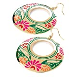 Ladies Womens Girls Costume Fashion Gold Colour Multi Enamel Round Earrings Size 6.5CMby B&F