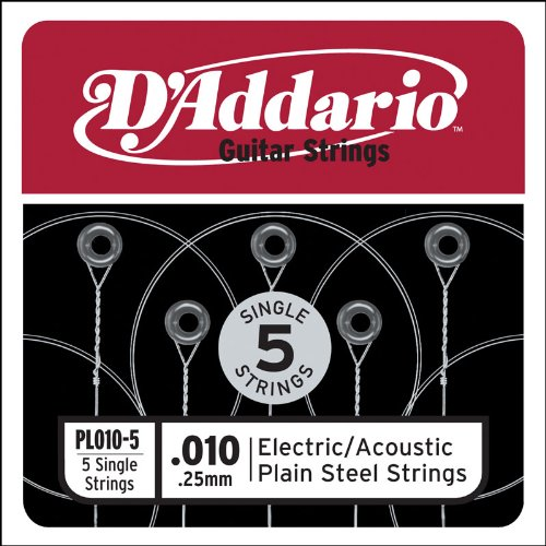 D'Addario PL010-5 Plain Steel Guitar Single String, .010 5-pack (Single Electric Guitar Strings compare prices)