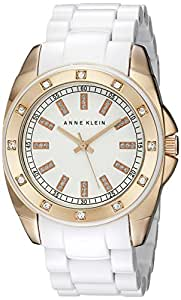 Anne Klein Women's 109178RGWT Swarovski Crystal Accented Rosegold-Tone White Bracelet Watch