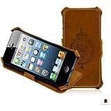 Manna iPhone 5 Hülle Case Tasche Schutzhülle Hardcase | Echtes Leder | Aufstellbar | Nubuk Leder im Vintage Look | Retro