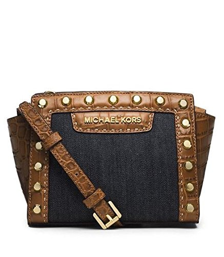 Michael Kors Selma Pick Stitch Mini Messenger Bag (Dk Denim)