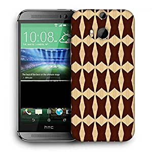 Snoogg Brown Strips Printed Protective Phone Back Case Cover For HTC One M8