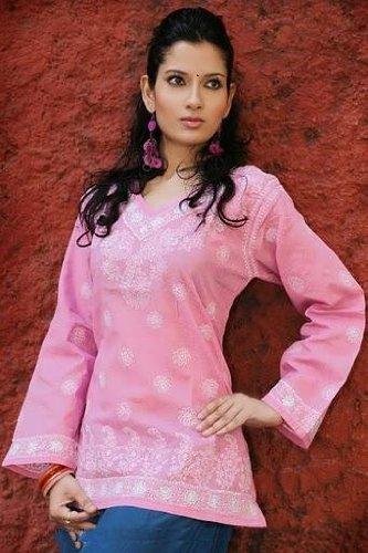 baby pink color long sleeve embroidered work ladies tops / tunics / dresses / kurta kurti
