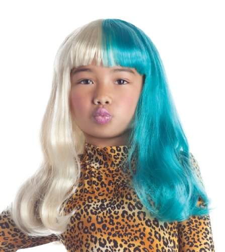 Party King Kids Rap Star Costume Blonde Teal Two Tone Bangs Wig