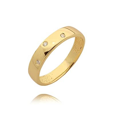 Modern three zirconia studded wedding ring
