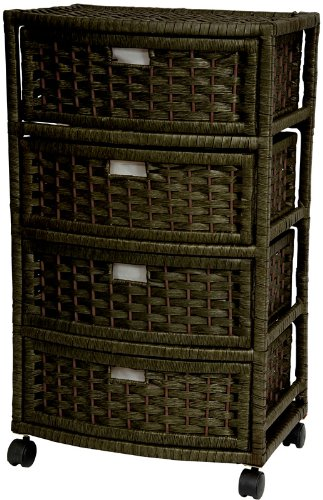 """Best Price Contemporary Modern Sustainable Design - 29"""" 4 Drawer Woven Plant Fiber Rattan Style Tall Nightstand Chest - Black"""