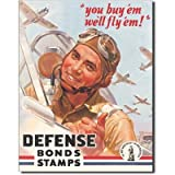 Defense War Bonds Stamps Air Force WWII Retro Vintage Tin Sign