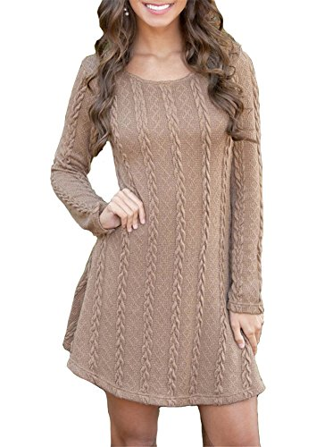 ETCYY Women's Long Sleeve Knitted Crewneck Sweater Pullover Dress Coffee X-Large