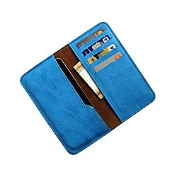i-KitPit : PU Leather Wallet Flip Pouch Case For Micromax Canvas Gold A300 (SKY BLUE)
