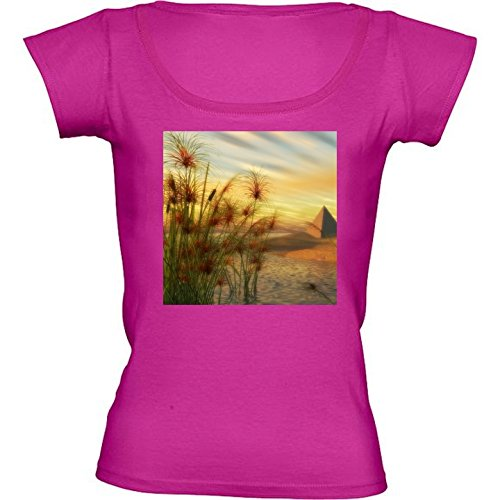 round-neck-fuschia-pink-t-shirt-for-women-small-size-pyramid-papyrus-sunset-by-britta-glodde