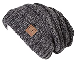 H-6100-6221 Oversized Slouchy Beanie - A Graphite Grey Tricolor Mix