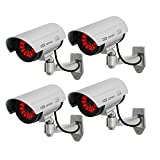 Masione 4 Pack Outdoor Fake / Dummy Security Camera with 30 Illuminating LED Light (Silver) CCTV Surveillance
