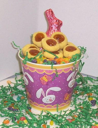 Scott'S Cakes 2 Lb. Passion Butter Cookies In A Purple Bunny Pail With Jelly Beans And Milk Chocolate Bunny