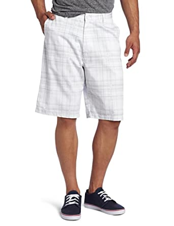 Burnside Men's Entrails Printed Plaid Chino Short, White, 30