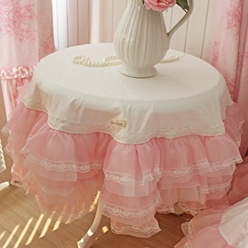 Dream Home Korean Princess 6 Layers Lace Gauze Tablecloth Fairy Temperament Round Table Cover, White, Pink