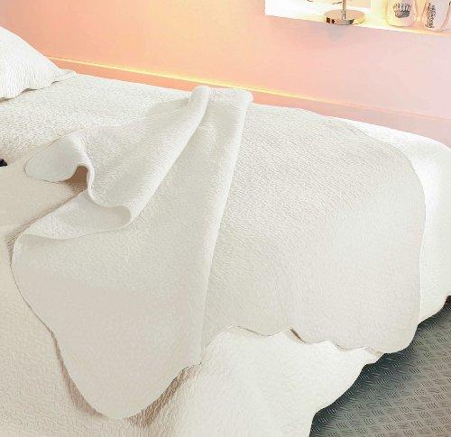 Linder 0581 /20/835/150 Castille - Plaid trapuntato in cotone, 150 x 150 cm, colore beige chiaro
