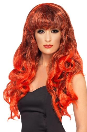 Smiffy'S Siren Smiffy Wig, Red/Black, One Size